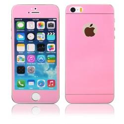 Rožiniai apsauginiai grūdinti stiklai Apple iPhone 5/5s telefonui (Priekiui ir galui)