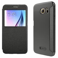 """Atverčiamas juodas dėklas Samsung Galaxy S6 Telefonui """"Nillkin Sparkle S-View"""""""