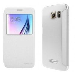 """Atverčiamas baltas dėklas Samsung Galaxy S6 G920 Telefonui """"Nillkin Sparkle"""""""