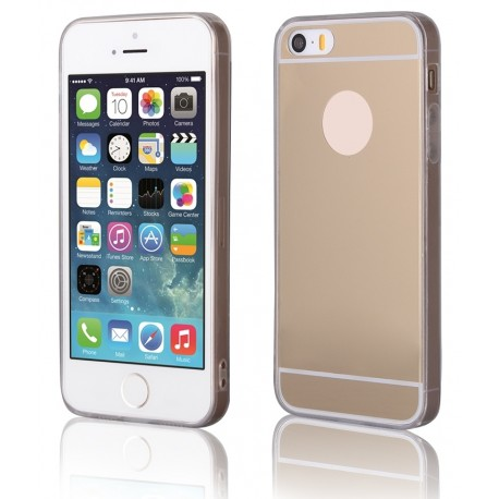 """Auksinės spalvos silikoninis dėklas Apple iPhone 5/5s telefonui """"Mirror"""""""