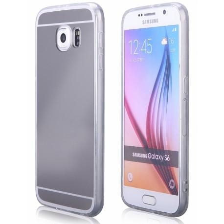"""Sidabrinės spalvos silikoninis dėklas Samsung Galaxy S6 G920 telefonui """"Mirror"""""""