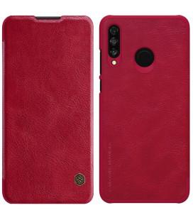 """Odinis raudonas atverčiamas dėklas Huawei P30 Lite telefonui """"Nillkin Qin"""""""