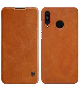 """Odinis rudas atverčiamas dėklas Huawei P30 Lite telefonui """"Nillkin Qin"""""""