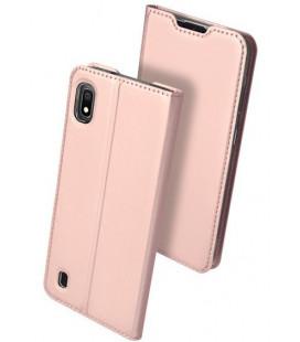 """Rausvai auksinės spalvos atverčiamas dėklas Samsung Galaxy A10 telefonui """"Dux Ducis Skin"""""""