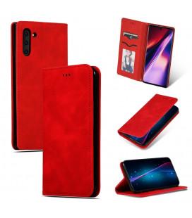 """Raudonas atverčiamas dėklas Samsung Galaxy A70 telefonui """"Business Style"""""""