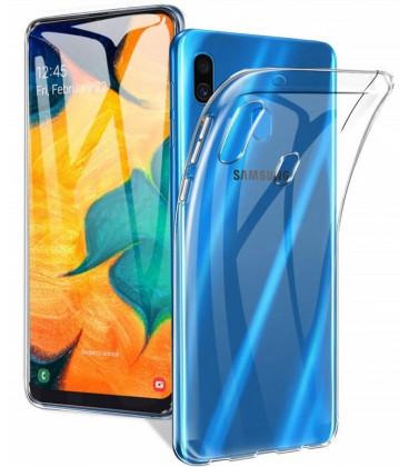 Skaidrus plonas 0,3mm silikoninis dėklas Samsung Galaxy A20E telefonui
