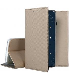 """Auksinės spalvos atverčiamas dėklas Huawei P30 Lite telefonui """"Smart Book Magnet"""""""