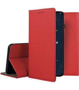 """Raudonas atverčiamas dėklas Huawei P30 Lite telefonui """"Smart Book Magnet"""""""