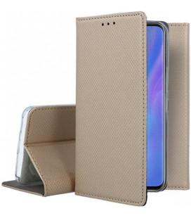 """Auksinės spalvos atverčiamas dėklas Huawei P30 Pro telefonui """"Smart Book Magnet"""""""
