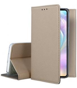"""Auksinės spalvos atverčiamas dėklas Huawei P30 telefonui """"Smart Book Magnet"""""""