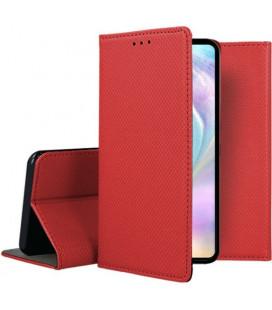 """Raudonas atverčiamas dėklas Huawei P30 telefonui """"Smart Book Magnet"""""""