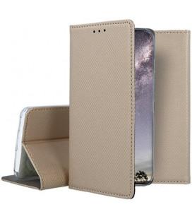 """Auksinės spalvos atverčiamas dėklas Xiaomi Mi 9 SE telefonui """"Smart Book Magnet"""""""