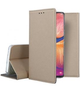 """Auksinės spalvos atverčiamas dėklas Samsung Galaxy A20E telefonui """"Smart Book Magnet"""""""