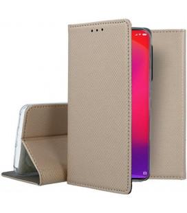 """Auksinės spalvos atverčiamas dėklas Xiaomi Mi 9T telefonui """"Smart Book Magnet"""""""