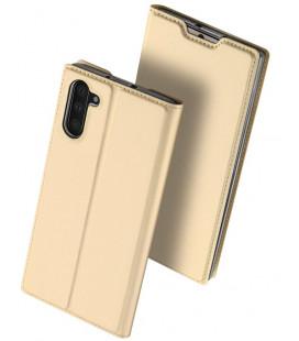 """Auksinės spalvos atverčiamas dėklas Samsung Galaxy Note 10 telefonui """"Dux Ducis Skin"""""""