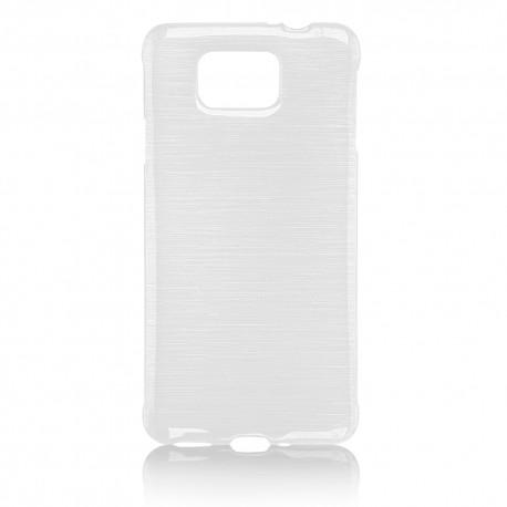 """Baltas silikoninis dėklas Samsung Galaxy Alpha G850 telefonui """"Jelly Metallic"""""""