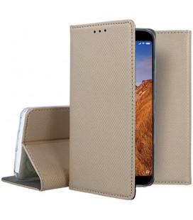 """Auksinės spalvos atverčiamas dėklas Xiaomi Redmi 7A telefonui """"Smart Book Magnet"""""""