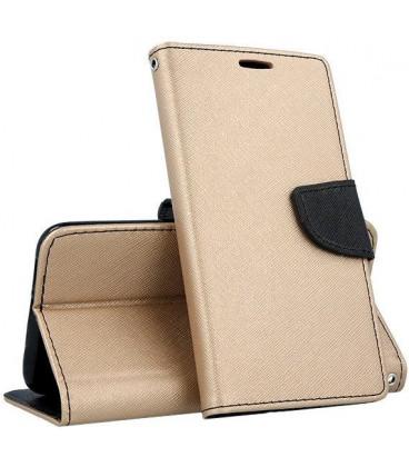 """Auksinės spalvos atverčiamas dėklas Samsung Galaxy A10 telefonui """"Telone Fancy"""""""