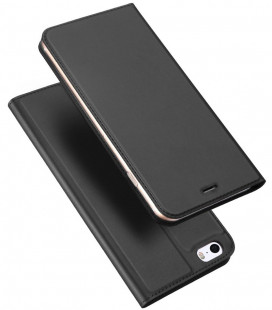 """Juodas atverčiamas dėklas Apple iPhone 5 / 5S / SE telefonui """"Dux Ducis Skin Pro"""""""