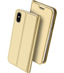 """Auksinės spalvos atverčiamas dėklas Apple iPhone XS Max telefonui """"Dux Ducis Skin Pro"""""""