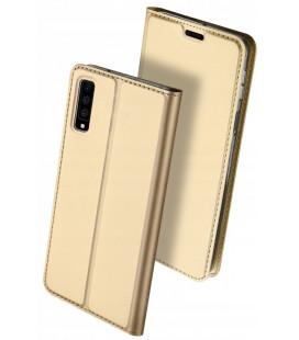"""Auksinės spalvos atverčiamas dėklas Samsung Galaxy A7 2018 telefonui """"Dux Ducis Skin Pro"""""""