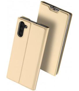 """Auksinės spalvos atverčiamas dėklas Samsung Galaxy Note 10 telefonui """"Dux Ducis Skin Pro"""""""