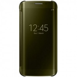 """Originalus auksinės spalvos atverčiamas dėklas """"Clear View Cover"""" Samsung Galaxy S6 Edge telefonui ef-zg925bfe"""