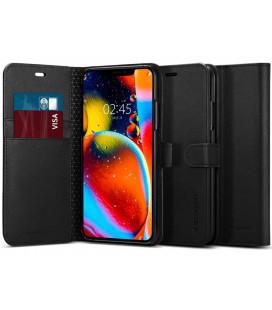 """Juodas atverčiamas dėklas Apple iPhone 11 Pro Max telefonui """"Spigen Wallet S"""""""