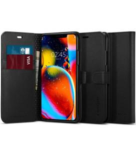 """Juodas atverčiamas dėklas Apple iPhone 11 telefonui """"Spigen Wallet S"""""""