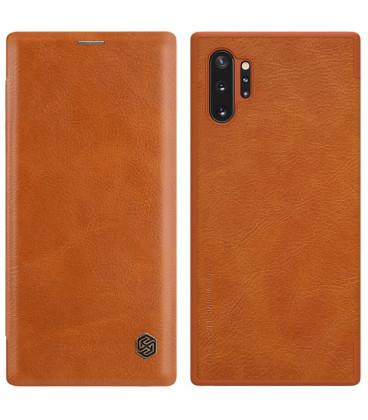 """Odinis rudas atverčiamas dėklas Samsung Galaxy Note 10 Plus telefonui """"Nillkin Qin"""""""