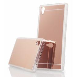 """Rausvai auksinės spalvos silikoninis dėklas Sony Xperia Z5 telefonui """"Mirror"""""""