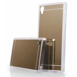"""Auksinės spalvos silikoninis dėklas Sony Xperia Z5 telefonui """"Mirror"""""""