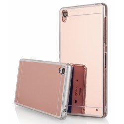 """Rausvai auksinės spalvos silikoninis dėklas Sony Xperia Z3 telefonui """"Mirror"""""""