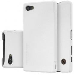"""Odinis baltas atverčiamas dėklas Sony Xperia Z5 Compact telefonui """"Nillkin Qin"""""""