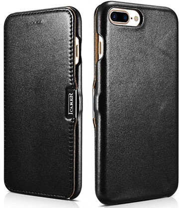"""Juodas odinis atverčiamas dėklas Apple iPhone 7 Plus telefonui """"iCarer Vintage"""""""