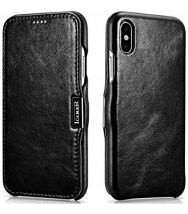 """Juodas odinis atverčiamas dėklas Apple iPhone X telefonui """"iCarer Vintage"""""""