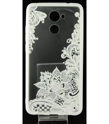 """Baltas dėklas su ornamentais Huawei Y7 telefonui """"Lace Case D4"""""""