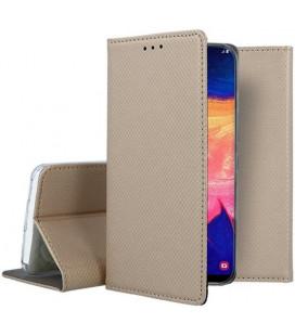 """Auksinės spalvos atverčiamas dėklas Samsung Galaxy A10 telefonui """"Smart Book Magnet"""""""