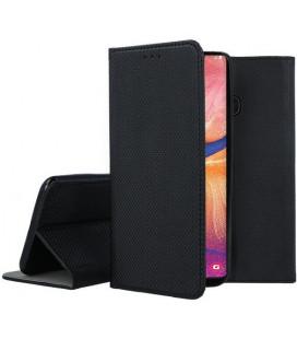 """Juodas atverčiamas dėklas Samsung Galaxy A20E telefonui """"Smart Book Magnet"""""""