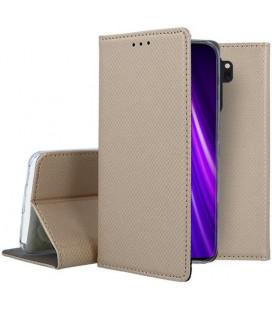 """Auksinės spalvos atverčiamas dėklas Xiaomi Redmi Note 8 Pro telefonui """"Smart Book Magnet"""""""