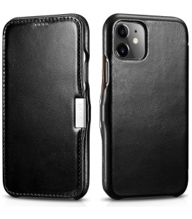 """Juodas odinis atverčiamas dėklas Apple iPhone 11 telefonui """"iCarer Vintage"""""""
