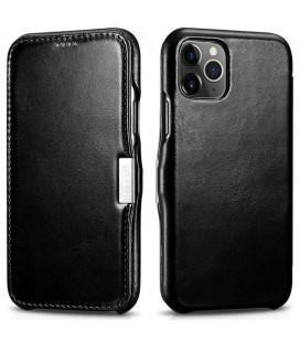 """Juodas odinis atverčiamas dėklas Apple iPhone 11 Pro Max telefonui """"iCarer Vintage"""""""