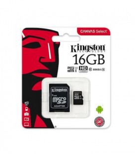 Atminties korta Kingston microSD 16Gb + SD adapter Class10
