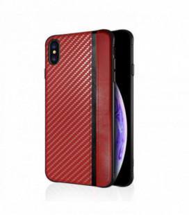 Dėklas Mulsae Carbon Samsung A405 A40 raudonas