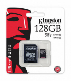 Atminties korta Kingston microSD 128Gb + SD adapter Class10