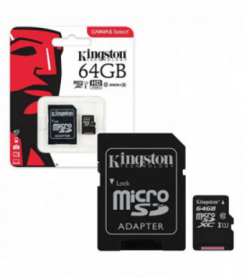 Atminties korta Kingston microSD 64Gb + SD adapter Class10