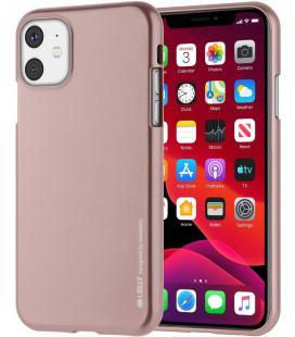 """Rausvai auksinės spalvos silikoninis dėklas Apple iPhone 11 telefonui """"Mercury iJelly Case Metal"""""""