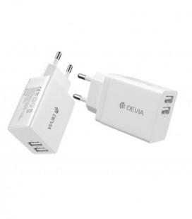Įkroviklis buitinis Devia Smart su dviem USB jungtimis (2.4A) baltas