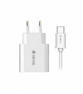 Įkroviklis buitinis Devia Smart + Type-C (2.1A) baltas