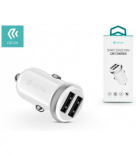 Įkroviklis automobilinis Devia Smart Mini su 2 USB jungtimis (2.4A) baltas